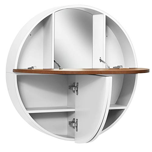CHARMAID 2-in-1 Wall Mounted Vanity Table, Round Vanity Cabinet with Drop-Leaf Table, 7 Storage Compartments, Built-in Mirror, Vanity Round Cabinet for Bedroom Bathroom Compact Place (White)