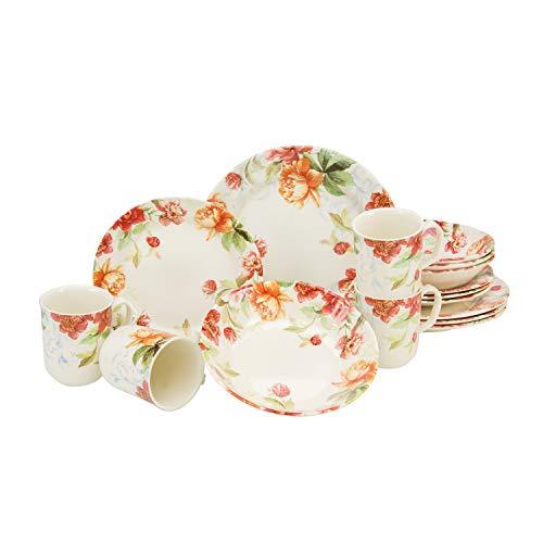 Creatable 21133 Serie Modern Floral - Vajilla (16 piezas, cerámica), diseño de flores