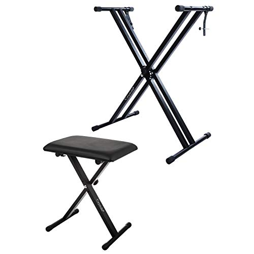 Double Braced X Frame Music Piano Keyboard Stand & Chair by Crystals®...