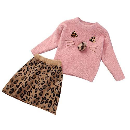 Baby Meisje Kleding Lange Mouwen Cartoon Houd Warm Top Mink Luipaard Wollen Jurk Twee Stukken Pak Roupas infantis menina Winter