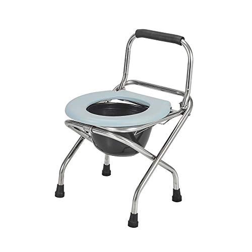 LSX--Bedside Commode Chair Bedside Commode Chair, Stainless Steel Bracket Portable Collapsible Home Elderly Toilet Pregnant Women Bath Chair Hemiplegic Indoor And Outdoor Splash-proof Toilet Bowl, 2 S