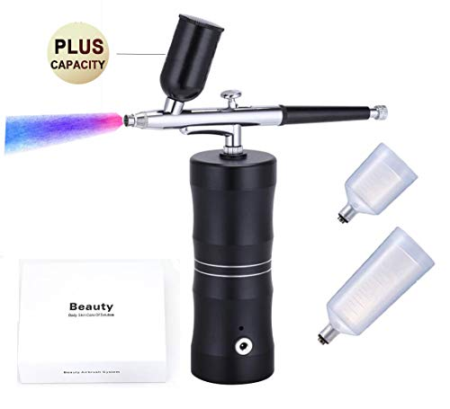 Handheld Airbrush Kit,Portable Spray Air Compressor Gun Rechargeable Wireless Mini Airbrush Set,Cordless Portable Large Capacity Professional Airbrush for Cake Decor,Model Coloring,Nail Art,Tattoo