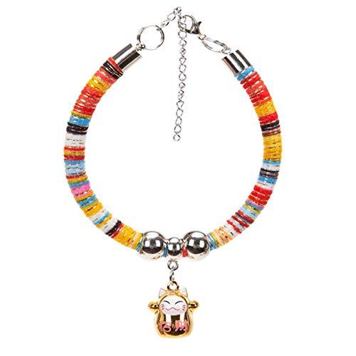Collares Perros Mascotas Collar Personalizado para Perros Y Gatos con Campana, Collar Ajustable De Estilo Japonés, Accesorios De Decoración De Fotos para Viajes Al Aire Libre, Regalo para Mascotas