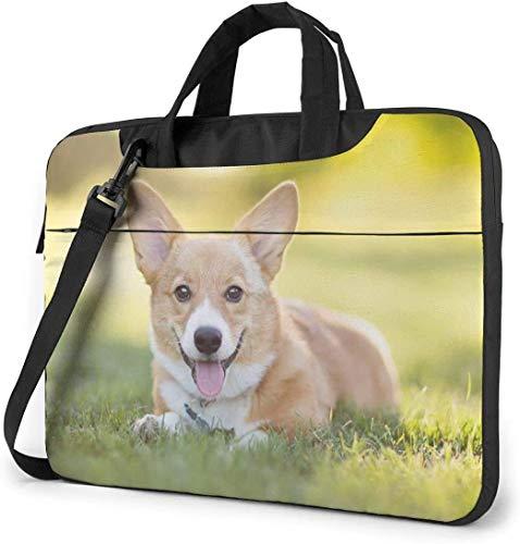 15.6 inch Laptop Shoulder Briefcase Messenger Welsh Corgi Puppy Tablet Bussiness Carrying Handbag Case Sleeve