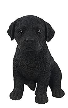 black lab puppy statue sitting