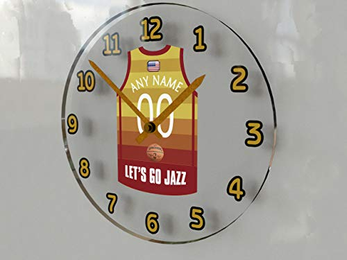 MyShirt123 NBA Basketball-Trikot-Wanduhr – verschiedene Team-Farben – personalisierbar (Utah-Themed NBA-Basketball)