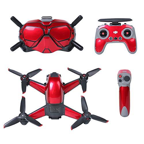 O'woda Adesivi per DJI FPV Combo: PVC Sticker per FPV Drone Corpo + Goggles V2 + Telecomando 2 + Controller di Movimento, Impermeabile AntiGraffio Decorazione Pattern Skin Pellicola Protettiva (Rosso)