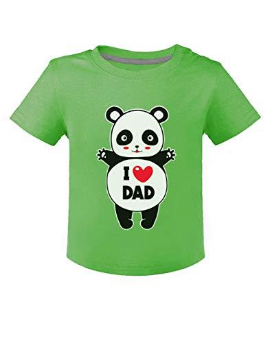 Green Turtle Fête des Pères - Panda I Love U Dad T-Shirt Bébé Unisex 24M Bleu Ciel