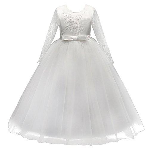 IBTOM CASTLE Mädchen Kinder Kleider Festlich Brautjungfern Prinzessin Kleid Hochzeit Abendkleid Spitze Spleiß Lange Ärmel Karneval Party Kleid Blumenmädchenkleider Weiß 11-12 Jahre