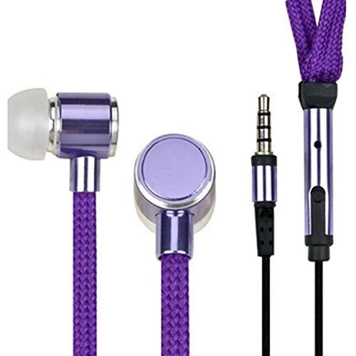 OIUYT Schnürsenkel Kopfhörer Schnur Metall In-Ear 3,5 mm Klinke-Kopfhörer Bass-Kopfhörer-Stereo Sport-Kopfhörer mit Mikrofon (Color : Purple)