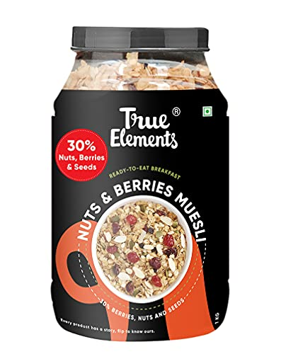 True Elements Nuts & Berries Muesli 1kg - Muesli Nuts Delight With 30% Berries, Nuts and Seeds | Cereal for Breakfast | Loaded...