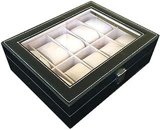 صندوق مجوهرات للرجال، صندوق منظم للساعات من الجلد ب 10 أقسام عالي الجودة لون أسود