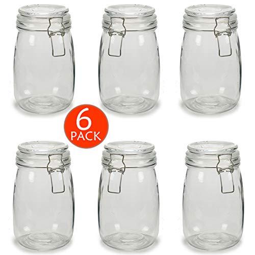 6 x Botes de Cristal para Cocina de 1 litro con Cierre Hermético de Clip con Junta de Silicona. Tarros de Vidrio con Tapa. Pack 6 Unidades. Conserva y Preserva (6)