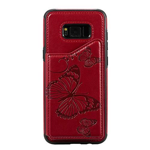Bear Village Coque Galaxy S8 Plus, Anti Rayures Étui à Rabat, Portefeuille Housse en PU Cuir Compatible avec Samsung Galaxy S8 Plus, Coque Arrière en Relief, Rouge