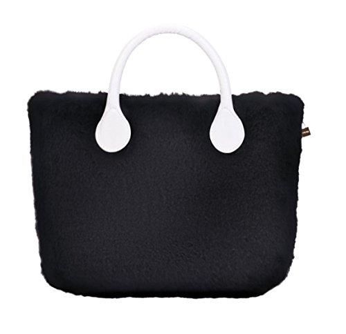 O Bag Mini Cover in Ecopelliccia Lapin (Nero)