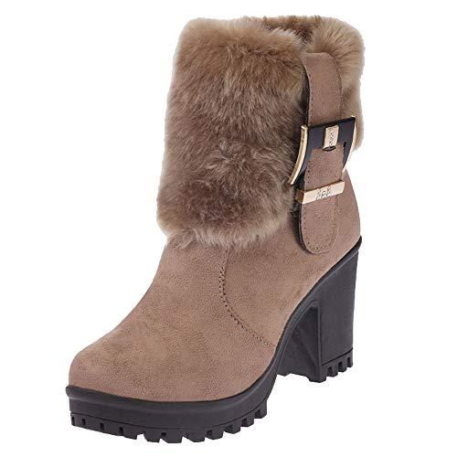 Damen Mode Stiefeletten SHOBDW Winter Warme Solid Künstliche Pelz weich Plüsch Schnalle Niedrig Stiefel Frauen Durable Wildleder Stiefel mit niedrigem Absatz rutschfest Schneestiefel Schuhe