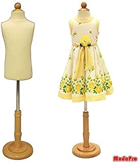 (JF-C3-4T) 3-4 Years Old Child/Kids Body Dress Form Mannequin White Jersey Form Cover with Wooden Base(C3-4T)