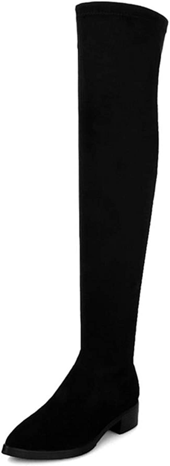 Women's Knee-High Boots Long Boots Genuine Leather Flock Nubuck Slip-on Pointed Toe Med Heels Solid shoes