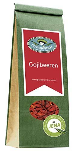 PEPPERMINTMAN Goji Beeren getrocknet – Süßer und fruchtiger Geschmack und reich an Vitaminen und Antioxidantien – Bocksdornfrucht, Wolfsbeere, Glücksbeere – 60g Papiertüte