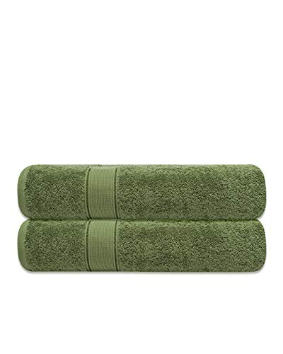 Tens Towels Bath Sheets, Pack of 2, 100% Cotton, Oversized 35x70 Inches, Medium Weight, Extra Large Bath Towel Sheets for Bathroom, Ultra-Soft and Absorbent Jumbo Bath Sheets (Forest Green)