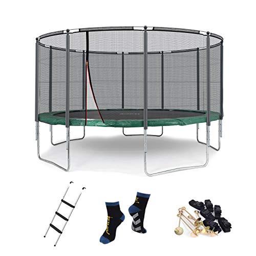 Ampel 24 Outdoor Trampolin 430 cm grün mit außenliegendem Netz, gepolsterten Stangen, Stabilitätsring, Leiter & Windsicherung, Belastbarkeit 160 kg, 1 Paar Antirutsch-Socken extra