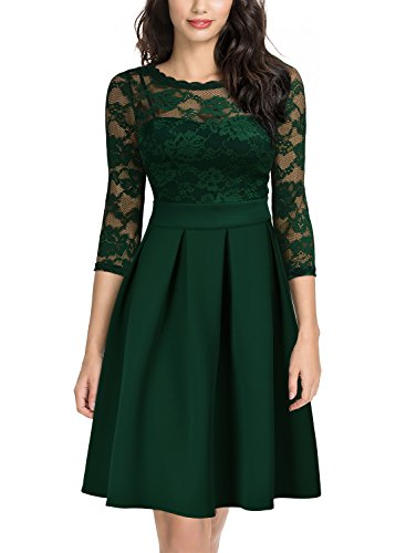 Miusol Women's Vintage Floral Lace 2/3 Sleeve Cocktail Party Swing Dress, Dark Green, X-Large