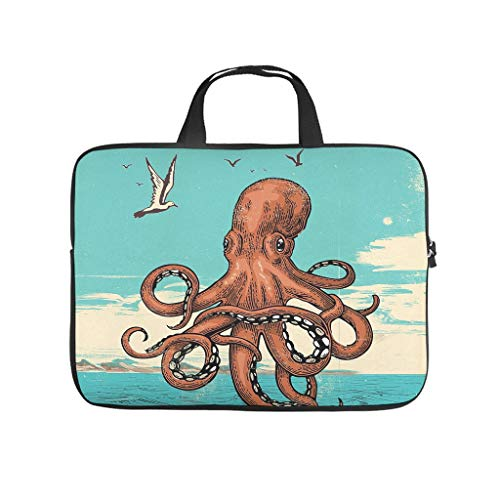 Laptop Bag Octopus Wear-resistant Lightweight -Computer Case Compatible with 13-15.6 inch white 10 zoll