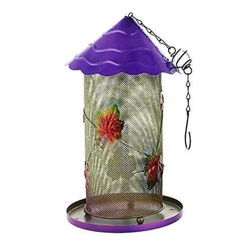 Yousiju Comedero para pájaros al Aire Libre de Las Casas del pájaro Que cuelga para la decoración del Patio del jardín en Forma Hexagonal con Techo