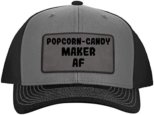 Popcorn Candy Maker AF Leather Grey Patch Engraved Trucker Hat Grey Steel One Size product image