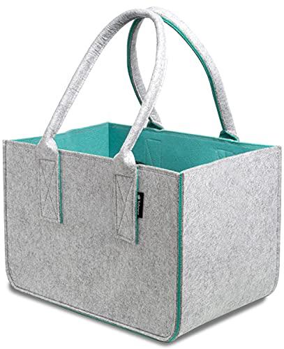 Tebewo Shopping Bag aus Filz, große Einkaufs-Tasche mit Henkel, Einkaufskorb, Faltbare Kaminholztasche zur Aufbewahrung von Holz, vielseitige Tragetasche auch für Spielzeug, Farbe grau/türkis