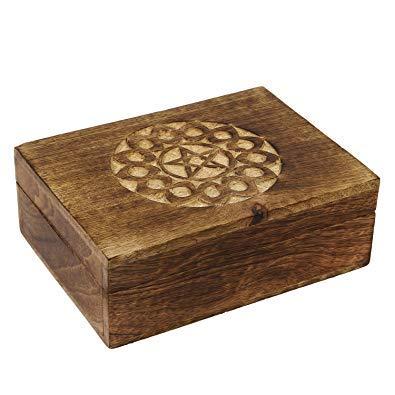Icrafts Schmuckkästchen / Aufbewahrungsbox / Organizer mit Pentagramm, aus Holz, handgefertigt Design 2