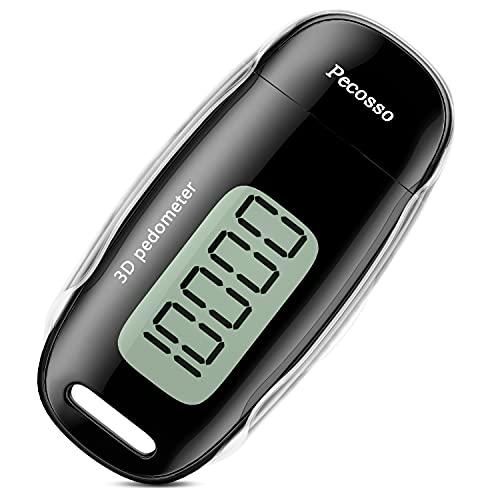 Pecosso 3D-Schrittzähler, einfache und genaue Zählschritte, mit großem LCD-Bildschirm, mit Clip und Trageband, geeignet für die ganze Familie (schwarz)
