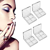 WSERE 6 Pcs Empty Eyeshadow Palette, DIY Eyeshadow Container, Clear Plastic Makeup Eyeshadow Pallets, Small Refillable 4 Grids Eye Make Up Eyeshadow Palettes 4 Pan Sub Boxes Tray for Women Girls