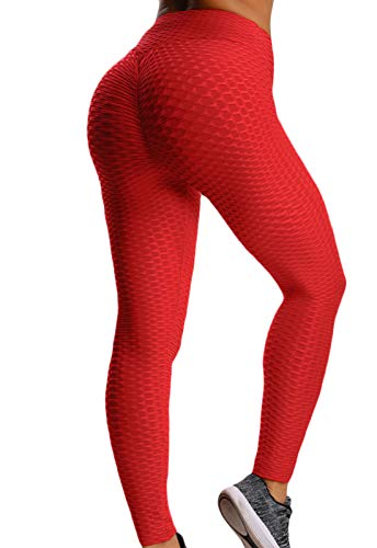 FITTOO Mallas Pantalones Deportivos Leggings Mujer Yoga Alta Cintura Gran Elásticos FitnessRojoL