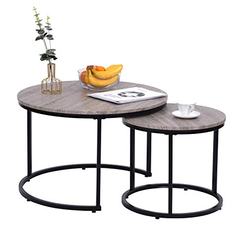 LongJiang Juego de 2 mesas de café de madera y metal, redondas, juego de mesa de centro de alta calidad, mesa de salón, estilo industrial moderno, mesa auxiliar, luz redonda