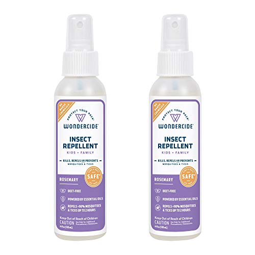 Wondercide - Mosquito, Tick, and Insect Repellent Spray with Natural Essential Oils - DEET-Free Plant-Based Bug Spray and Killer - Safe for Kids, Babies, and People - Rosemary 2-Pack of 4 oz