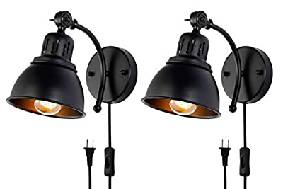 BANGANMA Wall Lamp Black Industrial Vintage Farmhouse Wall Sconce with Plug in Cord and On Off Toggle Switch, Wall Light Fixtures for Bedroom Nightstand, Barn or Warehouse, Set of 2
