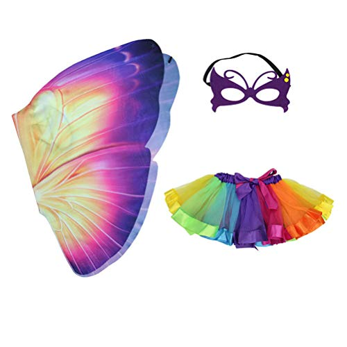 Fenical 3 pcs Kinder Schmetterling Kostüm Karneval Tinkerbell Fee Flügel Rock Mask Set Kinder Mädchen (Bunte)