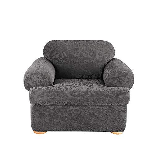 SureFit Home Décor Stretch Jacquard Damask T-Cushion Chair Two Piece Slipcover, Form Fit, Polyester/Spandex, Machine Washable, Gray Color