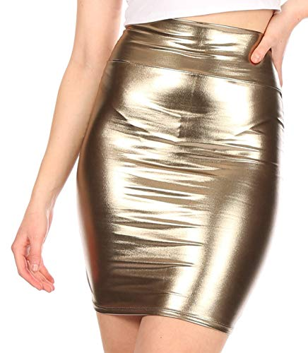 Sakkas 2695 Women's Shiny Metallic Liquid High Waist Pencil Skirt - Pewter - Small