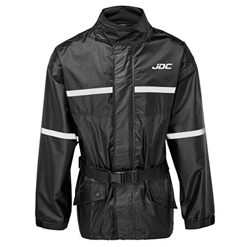 JDC Wasserdichte Motorrad-Regenüberzugsjacke Hohe Sichtbarkeit - SHIELD - Schwarz - M