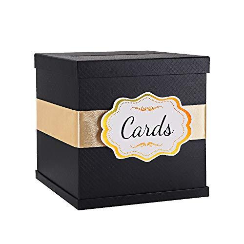 PACKHOME Kartenbox mit Satinband 10 x 10 x 10 Zoll Groß, schwarze Kartenbox für Hochzeitsempfänge, Geburtstage, Abschlussfeiern, Braut- oder Babypartys