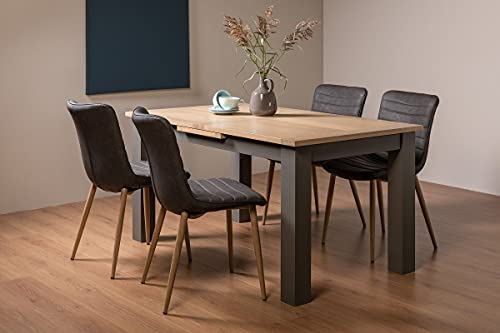 Hopper Dining Set - Scandi Oak 4-6 Seater Dining Table with Dark Grey Legs and 4 Eriksen Dark Grey Faux Leather Chairs with Grey Rustic Oak Effect Legs