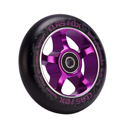 YOGCHJ Ruedas Scooter Freestyle,Ruedas Scooter Calidad Stunt Scooter Wheels 100 mm Scooter aleación de Aluminio Acero hub de Alta Elasticidad precisión (Color : Purple)