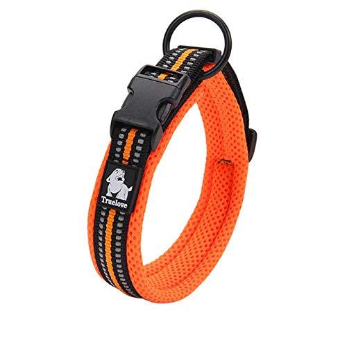 Truelove collar de adiestramiento para perro tlc5011reflectante Premium DuraFlex hebilla en Nylon mascota perro collares en naranja, alto grado en Nylon No Choke collares básico ahora disponibles.