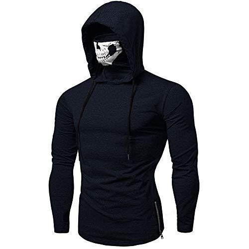 Xmiral Mens Pullover Gesichtsschal Skull Pure Color Langarm-Kapuzenpulli Tops zum Karneval(L,C-Marine Blau)