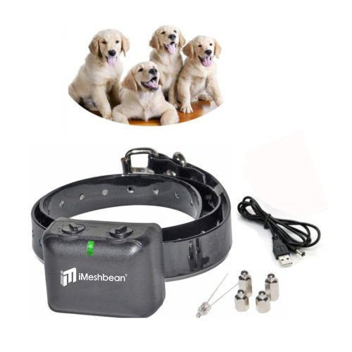 iMeshbean Rechargeable No Bark Dog Trainning Collar Waterproof Dog Control Shock Collar for Small, Medium & Large Dogs - Best Electric Vibration Anti NO Bark Training [Black]
