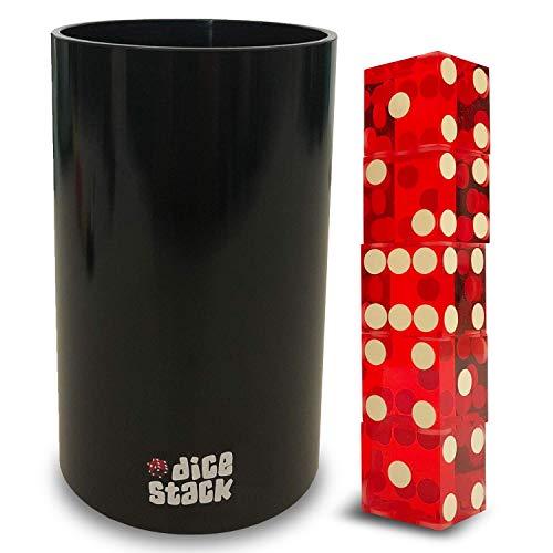 Dice Stack ing PRO Cup Set - Professionelle gerade Cups mit 5 Rasierkanten 19mm echte Casino Würfel in einer Box - Zubehör - Magic Tricks - Rot