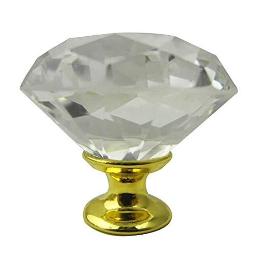 Calcifer® Lot de 12 boutons de tiroir en verre cristal en forme de diamant pour caebinet, tiroir, porte, armoire (40 x 40 x 60 mm)