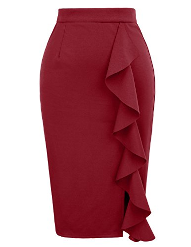 GRACE KARIN Women's Stretchy Pencil Skirt Ruffle Side Business Skirts M Wine Red